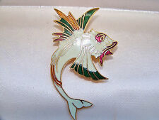 VINTAGE JEWELERY GORGEOUS CLOISONNE ENAMEL MARINE SCORPION FISH BROOCH SHAWL PIN
