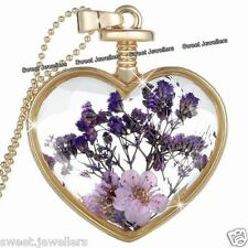 Xmas Jewellery Gifts For Her - Purple Flower & Gold Heart Pendant Necklace Women