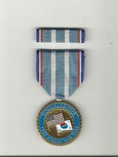 Korea War Service Commemorative medal with ribbon bar showing Flags