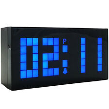 Big Screen Bedside Wall Clock Led Digital Alarm Table Watch Desk Date Timer Blue