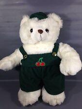 """Vintage Elite Toys White Teddy Bear Plush RARE 20"""" w/ Green Corduroy Overalls"""