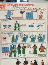 Orion Airways A300 safety card