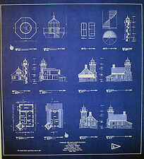 "Vintage Great Lakes 1882 Lighthouse Builders Blueprints  22"" x 24"" (267)"