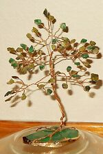 5.25 inch-- JADE, PERIDOT, & AVENTURINE Gem tree on a Faceted AVENTURINE base