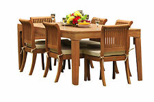 """7 PC TEAK OUTDOOR DINING SET 122"""" DOUBLE EXTN RECT TABLE + 6 GIVA ARMLESS CHAIRS"""