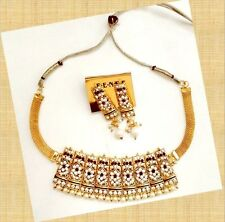 Imitation White & Maroon Color Stones Pearls Choker Necklace Earrings Set 499/-