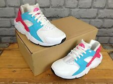 NIKE GIRLS CHILDRENS UK 4 EU 36.5 WHITE BLUE PINK HUARACHE TRAINERS