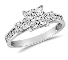 1.75 ct Engagement Ring Princess Cut 3 Stone Diamond Silver Platinum Finish