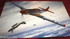 WWII Aircraft P-51 D-15  shooting down a Me 262 Large Postcard