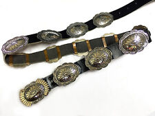 Navajo Indian 1970's Hand Stamped Concho Belt in .925 Sterling Silver