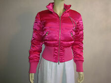 Express Womens M Hot Pink Shiny Satin Down Feather Filled Quilted Puffy Jacket