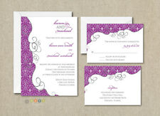 100 Personalized Modern Damask Wedding Invitations Any Color(s)