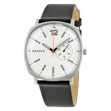 Skagen Rungsted White Dial Black Leather Mens Watch SKW6256