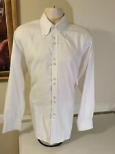 TATEOSSIAN SIZE 17/43, 100% COTTON MEN'S SOLID WHITE DRESS SHIRT STANDARD CUFF