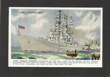 POSTCARD:  PAINTING: HMS VANGUARD - BRITISH ROYAL NAVY WW-2 BATTLESHIP - Unused