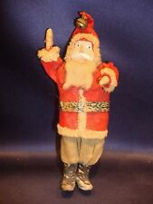 "Antique 6 1/4"" Standing Santa Figure Hand Painted Compo Face"