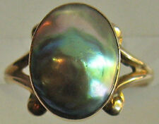 ANTIQUE ELEGANT 10K GOLD BLISTER PEARL RING - SIZE 5-3/4