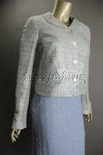 $1545 New JIL SANDER Navy White Tweed Weave Boxy Crop Jacket 8 38