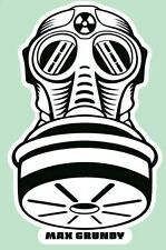 Small Gas Mask Sticker by Atomic Kustom Kulture Artist MAX GRUNDY Art USA