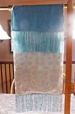 "74"" Vintage 100% Silk Shanghai Tang Wrap Scarf Table Runner Chinese Blue & White"