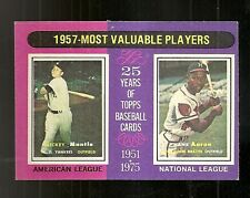 1975 Topps 1957 Most Valuable Players Mickey Mantle Hank Aaron #195 Yankees