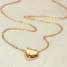 Pure 18K Solid Rose Gold Necklace Charming O Link Necklace With Heart Pendant