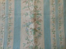 Antique French Faded Shabby Roses Stripe Cotton Fabric ~ Blue Orchid Pink Aqua