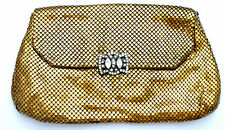 Whiting & Davis Mesh Purse Clutch Handbag Gold Rhinestone Clasp Bag Vintage