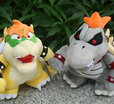 "2 Pcs Super Mario Bros Plush Toy Dry Bowser Koopa Bones Troopa 9"" Stuffed Animal"