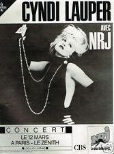 Publicité advertising 1987 Concert Cyndi lauper Paris Zenith