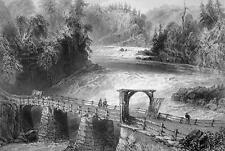 CANADA Montmorency River Bridge - 1840s Engraving Print by BARTLETT