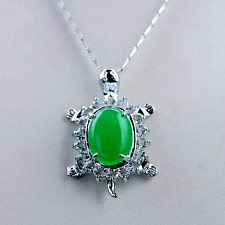 Exquisite Tibet Silver Inlaid Malay Jade Turtle Shape Necklace & Pendant @AA100