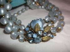 DeMario NY NECKLACE 3-strands Blue Glass Beads Choker signed Vintage