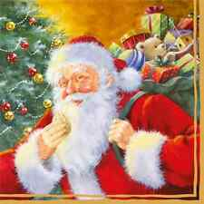 Christmas 20 Paper Lunch Napkins SMILING SANTA CLAUS Christmas Tree Gifts Red /D