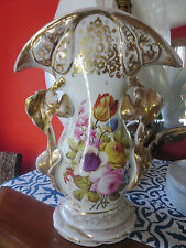 Exquisite Large  Floral/Gilded Old Paris Porcelain Vase