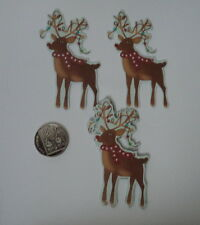 PK 6 ANITA'S CHRISTMAS REINDEERS EMBELLISHMENT TOPPERS FOR CARDS OR CRAFTS