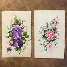 2x Hand Painted Floral unsigned  Postcard Ref028