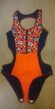 NEXT NAVY & ORANGE FLORAL ZIP CUT OUT SWIMSUIT COSTUME 16