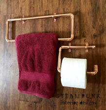 Steampunk Copper Pipe Towel Rail Toilet Roll Holder Vintage Industrial Retro