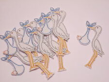 10 x New Baby Blue Stork Embroidered Arts Crafts Card Making Motifs Badges#11A39