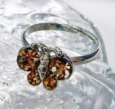 Nuevo anillo mariposa con pedrería en marrón ajustable en tamaño anillo de mujer