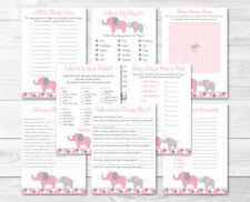 Pink and Gray Polka Dot Elephant Baby Shower Games Pack - 8 Printable Games