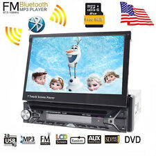 "7"" Single 1 DIN Car CD DVD Player GPS Navigation Bluetooth HD Touch Stereo Radio"