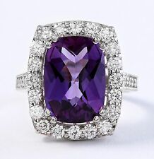 8.45 CTW Natural Purple Amethyst and Diamonds in 14K White Gold Ring