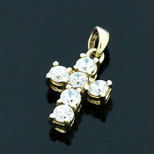 9ct Yellow Gold Cubic Zirconia Cross Pendant - Boxed U.K. Made