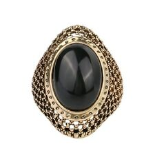 Charming Red Black Oval Rhinestone Gold Plated Lady Vintage Jewelry Rings