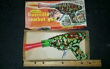 Vintage tin sparkling friction KO guerrilla combat toy gun made in japan boxed