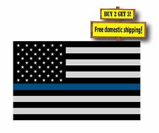 """THIN BLUE Stripe LINE 5""""x 8"""" Subdued Flag DECALS STICKER Support Police NYPD TB3"""