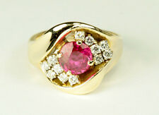 $6000 Retail Stunning Low Profile Almost 2 Carats Ruby Diamond 14K Ring - 6 1/2