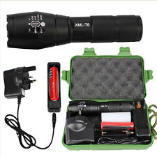 5000LM T6 Zoomable LED Tactical Flashlight Rechargeable Adjust Torch Lamp Set UK